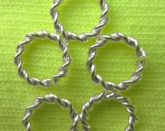 50pcs - 11mm x 2mm - bright silver plated - unique double twisted - jump rings - very strong rings - 12 gauge
