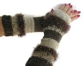 Brown Fingerless Gloves, Hand Knit Fingerless Gloves, Texting Gloves, Shabby Chic  Driving Gloves,  Gift For Her Gauntlets, Girls, Womens