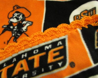 Oklahoma State OSU Cowboys College Fleece Baby Blanket With Crochet Ruffle - Baby/Toddler Girl or Boy - Wrap-Around