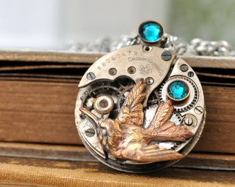 steampunk jewelry, humming bird necklace, ENCHANTED FOREST steampunk watch movement necklace with brass humming bird