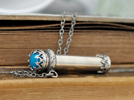 Items similar to sterling silver container necklace pill for Pill bottle jewelry