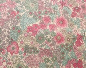 Liberty tana lawn printed in Japan - Margaret Annie - Pink aqua green mix