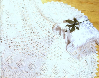 Knitting Pattern For A Round Heirloom Baby Shawl : Baby Knitting PATTERN Beautiful Baby Bebe Heirloom