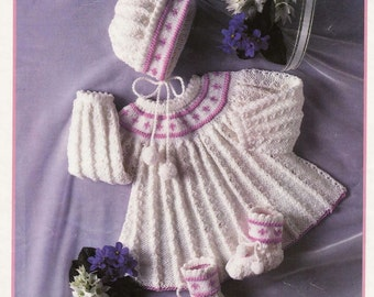 BABY KNITTING Pattern Angel top/Dress Bonnet and Booties 16 to 22 in