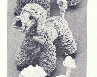 Vintage Crochet pattern - Poodle family - Papa, Maman, Bebe - Large, Medium and small knitted Poodle dogs