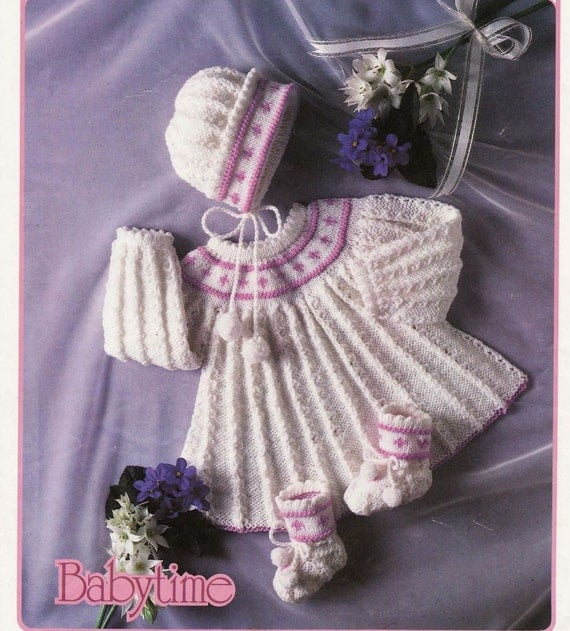 BABY KNITTING Pattern Angel top/Dress Bonnet and Booties 16 to