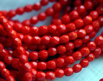 Czech Glass Beads - 4mm Fire Polished Beads - 4mm bright Red beads - Coral Red - 4mm Opaque Red Beads - Faceted Rounds - Bead Soup Beads