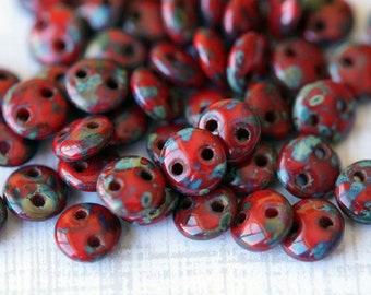 6mm CzechMates Lentil Beads - Opaque Red Picasso - Picasso Czech Glass Beads - Two Hole Lentil Beads - Bead Soup Beads