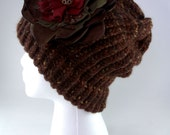 Shades of Chocolate brown knit hat with Fabric Flower, knitted hat, wool and acrylic, bulky yarn