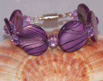 Mother of pearl and Chinese crystal bracelet in purple and lilac