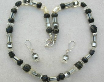 SALE - 50% off, Midnight Black & Silver Glass, Lampwork Glass, Silver Foil Glass and Crystal Beads, Necklace Set by SandraDesigns