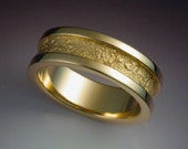14k gold man's wedding band with rock texture