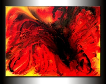 Abstract Painting On Canvas Red Yellow Black Art By New Wave Art Gallery 48x36