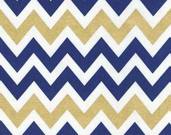 Remix Metallic Chevron by Ann Kelle for Robert Kaufman Fabrics, Metallic Indigo 1/2 yd total