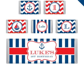 Nautical Party - Personalized DIY printable Hershey bar labels