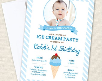Ice Cream Party Photo Invitations - Professionally printed *or* DIY printable