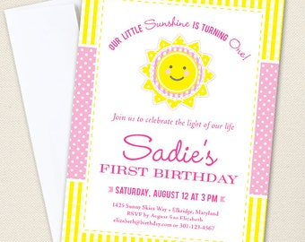 Sunshine Party Invitations - Professionally printed *or* DIY printable