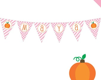Pink Pumpkin Party - Personalized DIY printable pennant banner