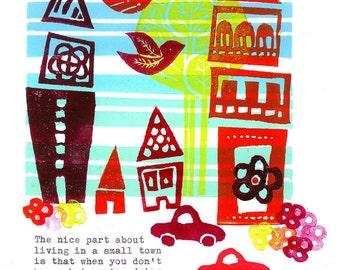 Original Linocut Print - Living in a Small Town
