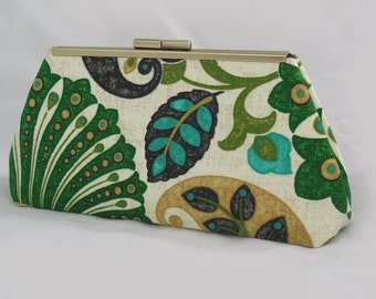 Emerald clutch lined with contrast faux silk - Framed Clutch-  Purse - Bag