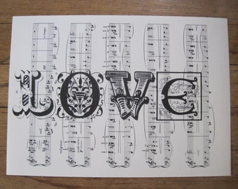 NEW love valentine's day on vintage sheet music