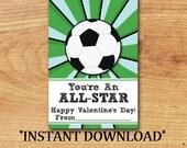 INSTANT DOWNLOAD - Kid Valentine - Classroom Valentine  - Blank Valentine - Soccer - Mini Valentine