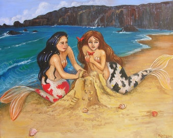 Mermaid Sisters at the Beach, Koi Mermaids, Beach Painting