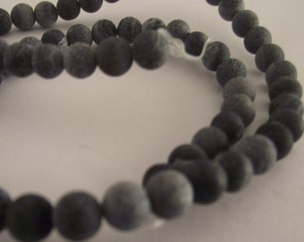 1 strand black Dragon Vein 6mm Beads-Approx 60 beads