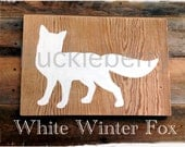 White Winter Fox Sign - Modern, Simple Wood Design