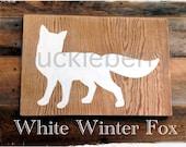 White Winter Fox Sign - Modern, Simple Wood Design