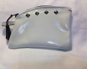 Patent Leather purse pouch off white with diamond shape nail heads