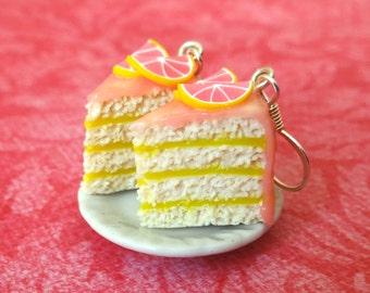 Grapefruit cake earrings