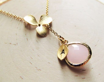 Gold Personalized Necklace, Gold Orchid with Birthstone and Initial, Orchid Necklace, Gold Bridesmaid Necklace, Lariat, You Choose Color