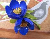 Vintage Tibetan Poppy Enamel Flower Brooch