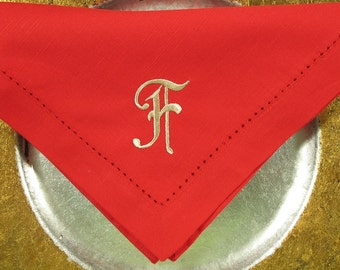 4 Monogrammed Napkins in the Old French Font