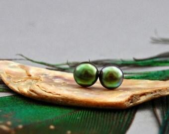 Kaeya - Green Peacock pearl stud earrings, OOAK earrings, pearl jewelry, gift for her, teens, girls, youth, teens, women, anniversary,