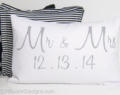 Personalized Wedding Date Pillow Grey and White Mr and Mrs Custom Lumbar 12 X 18 Made in Canada