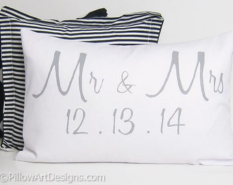 Personalized Wedding Date Pillow with Insert Grey and White Mr and Mrs Custom Lumbar 12 X 18 Made in Canada