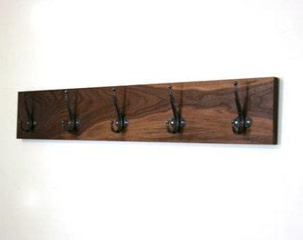 "Reserved for Amelia. Handmade Walnut Coat Rack. 24"" Coat Hanger. Scarf Rack. 4 Hooks. Modern. Rustic. Home."