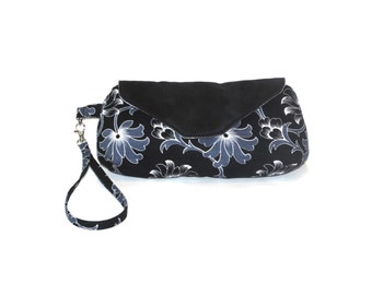 Clutch purse, black grey white floral, cotton suede, removable strap bag, small purse, wristlet purse, handbag, magnetic snap