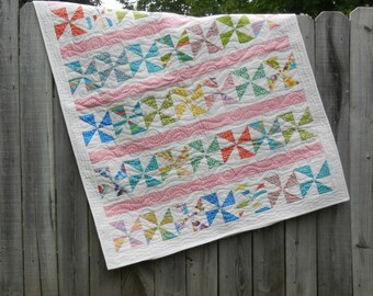 Pinwheels and Polka Dots Baby Quilt