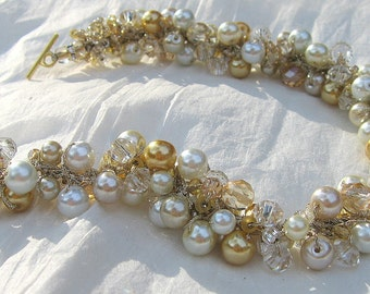 Bridal Wedding Pearl Crystal Necklace, CHARDONNAY GOLD Limited Edition, Champagne, Ivory, White, Unique Hand Knit, Sereba Designs
