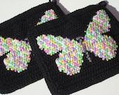 Butterfly Potholders - Black Potholders - Crochet Potholders - Crocheted Potholders - Pot Holders for Women - Multicolor Pretty Pot Holders