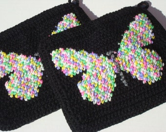 Butterfly Potholders - Black Potholders - Crochet Potholders - Crocheted Potholders - Pot Holders for Women - Multicolor Pretty Pot Holders