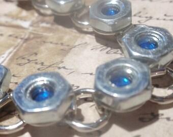 Industrial Hardware Bracelet  Steel Hex Nut  w Sapphire Blue Crystal in cener SIZE 7.2