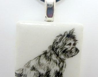 Cairn Terrier on a White Porcelain Tile Pendant