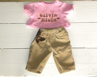 Khaki Pants and Pink Tshirt - 14 - 15 inch doll clothes