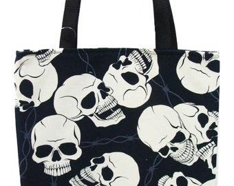USA Handmde Totebag Handbag With Bones and Steel Pattern Alexander Henry Cotton Fabric, Black Color,New, Rare