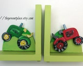 Hand painted tractor bookends