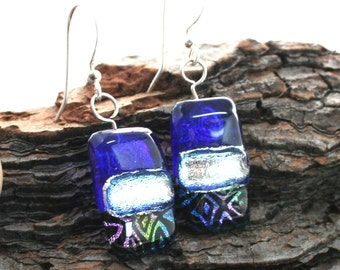 Cobalt blue, Silver and Patterned Dichroic Fused Glass Earrings, Geometric Earrings, Dichroic Dangles, Cobalt Glass Earrings, OOAK Earrings